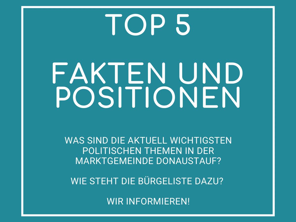 TOP 5 Fakten und Positionen zur Politik der Marktgemeinde Donaustauf